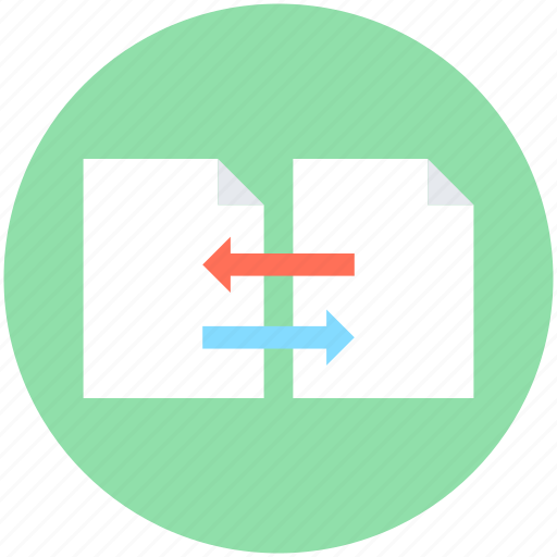documents, exchanging arrows, file sharing, file transfer, files icon
