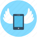 device, mobile, mobile marketing, smartphone, wings icon