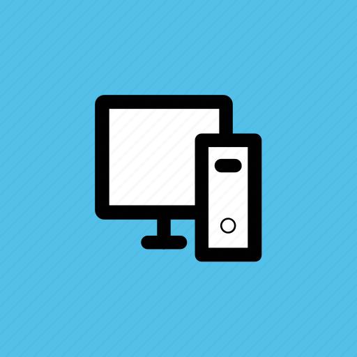 computer, desktop, desktop computer, tower computer, workstation icon