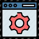 browser, cogwheel, gear, seo, setting, web, website