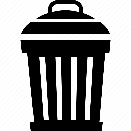 dustbin, garbage pail, litter basket, trash barrel, trash bin, trashcan, wastebasket icon