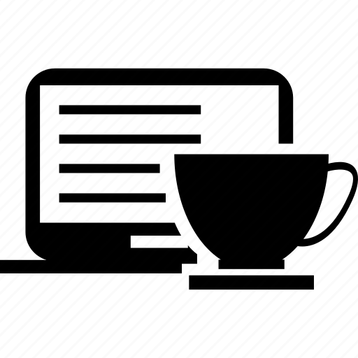 coffee, computer, cup and saucer, laptop, refreshment, tea, working icon