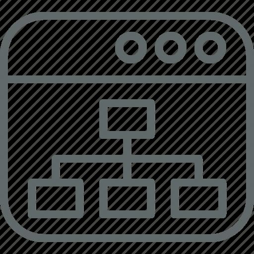 chart, flow, organization, site, web icon