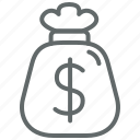 bag, business, dollar, fees, finance, investment, money icon