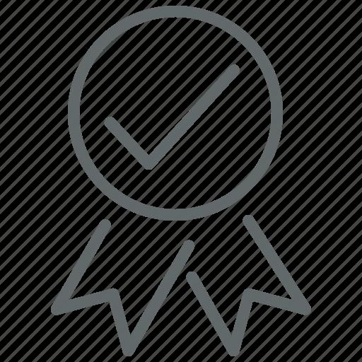 award, badge, checkmark, prize, quality, ribbon icon