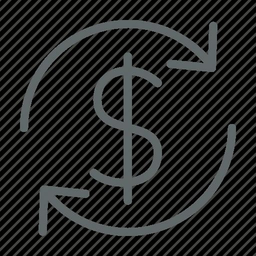 business, dollar, investment, money, return icon