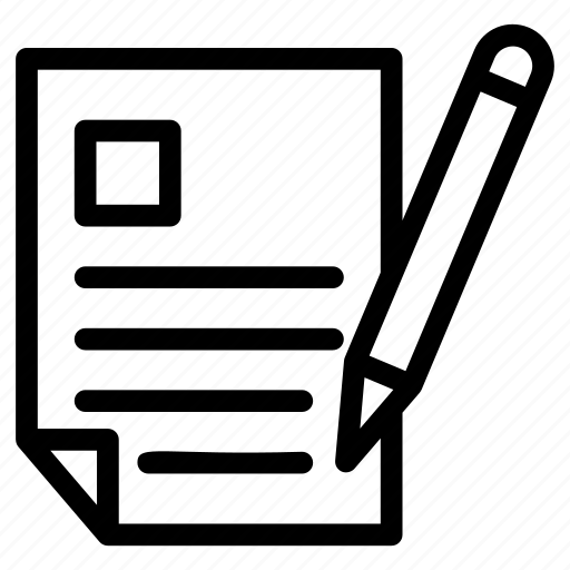 document, pencil with page, stationary, writing, writing tool icon