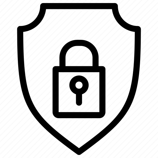 network security, protected network, protective padlock, security management, security shield icon