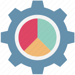 analytics, cog, cogwheel, graph analysis, pie chart, pie graph, statistics icon
