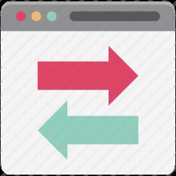 arrows, communication, data sharing, data travel, web content icon