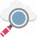 cloud, creative cloud, glass, magnifying, search backup, search cloud, search data