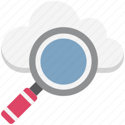 cloud, creative cloud, glass, magnifying, search backup, search cloud, search data icon