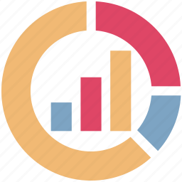 bar graph, business graph, circular chart, diagram, infographic, pie graph, statistics icon