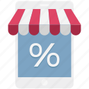 discount, mobile, mobile shopping, online shopping, percentage, shopping application icon