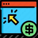 click, development, money, pay, seo, web, website icon