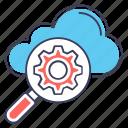 cloud computing, cloud development, cloud maintenance, cloud optimization, cloud setting icon