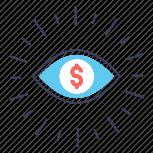 business eye, business network, financial eye, financial perception, financial vision, marketing vision icon