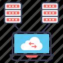 cloud backup, cloud computing, cloud servers, cloud storage, cloud transfer icon