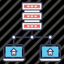 connected device, data hosting, data storage, database hosting, hosting server icon