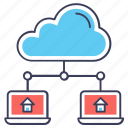 cloud computing, cloud devices, cloud hosting, cloud storage, database hosting icon