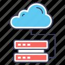 cloud datacenter, cloud devices, cloud hosting, cloud storage, database hosting icon