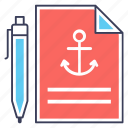 anchor document, anchor link, anchor sheet, anchor text, text document icon