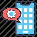app configuration, app design, app development, mobile maintenance, mobile setting icon