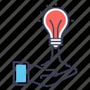 bright idea, creative idea, creative launch, creative process, creative startup icon