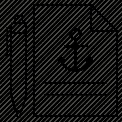 anchor document, anchor link, anchor sheet, anchor text, text document icon