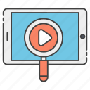 find video, media searching, mobile app, video analysis, video searching icon