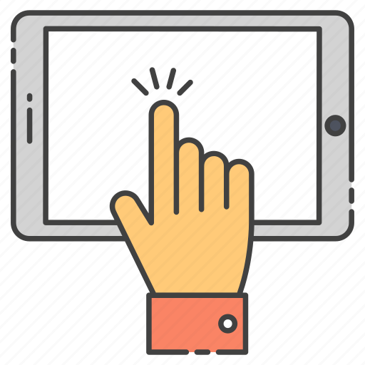 digital interaction, finger click, finger touch, pointer, smartphone, touch device, touch technology icon