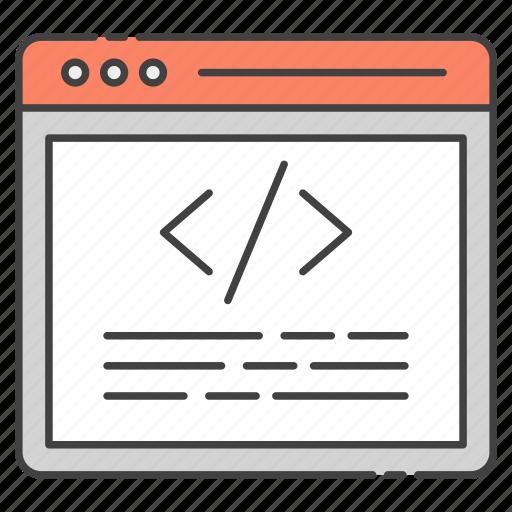 html, programming interface, source code, source page, web coding, web development icon
