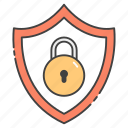 locked shield, private security, protected shield, protection, safety, secure shield icon