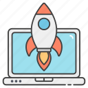 business launch, missile, rocket, spacecraft, spaceship, start up icon