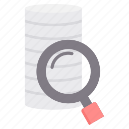 data, database, magnifier, network, search, storage icon
