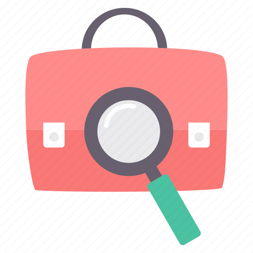 bag, briefcase, business, office, search, seo icon