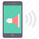 communication, device, mobile, phone, smartphone, speaker, volume icon
