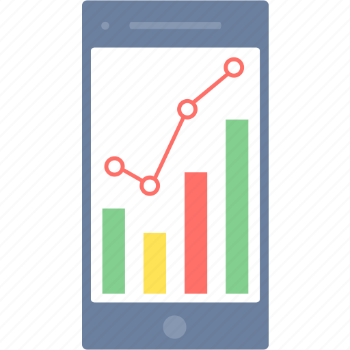 analysis, business, graph, mobile, phone, smartphone icon