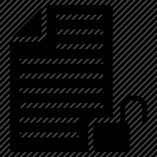 unlock, unlock article, unlock blog post, unlock document, unlock file icon