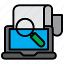 computer, laptop, magnifier, search, zoom icon