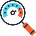 dashboard, magnifier, optimization, performance, search, seo, speedometer icon