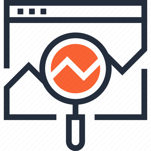 analysis, analytics, chart, magnifier, seo, statistics, web icon