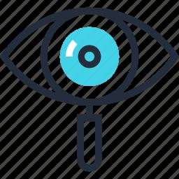explore, eye, glass, magnifier, optimization, search, seo icon