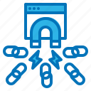 link, magnet, popularity, seo, website icon