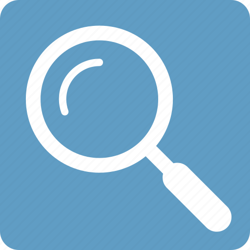 active, find, glass, magnifying, search, square icon