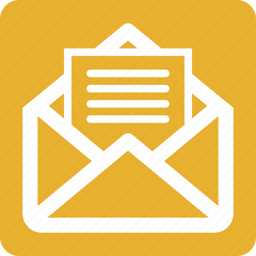 campaigns, email, email marketing, mail, marketing, square, yellow icon