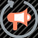 loudspeaker, marketing, megaphone, promotion, publicise, repeat, share icon