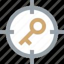aim, bullseye, clue, goal, key, keyword, target icon