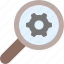 cog, gear, magnifying glass, search, setting, settings, zoom icon
