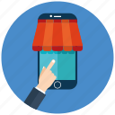 ecommerce, market, online, online marketing, seo, shopping, smartphone icon